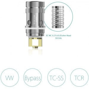 NOTCH 0.25 Eleaf The Eleaf EC Coils are for the Eleaf Melo 1 2 & 3, iJust 2 & S, Lemo 3 and can also be used with the Aspire Triton atomizers